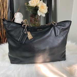 COACH Rogue Madison Pebbled Leather Black Tote